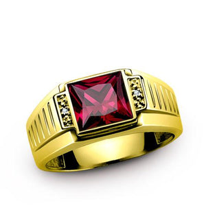 Real 14K Solid Yellow  Gold Mens Ring with Red Rub and Diamond Accents
