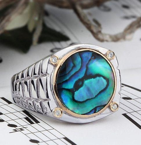 Men's Watch Band Ring In 925 Sterling Silver With 4 Genuine Diamonds And Abalone