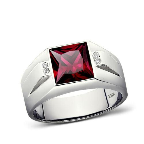 Solid 18K White Gold Red Ruby Jewelry 0.08ct Natural Diamond Ring