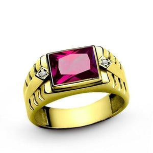 18K Gold ring for Men with Red Ruby and 2 Real Diamond Accents