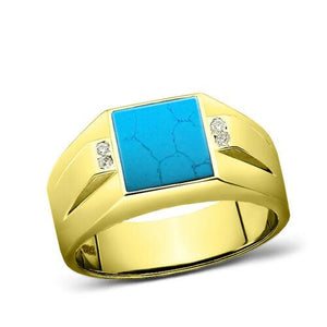 925 Solid Silver Mens 18K Gold Plated Real Turquoise Ring With 4 Diamond Accents