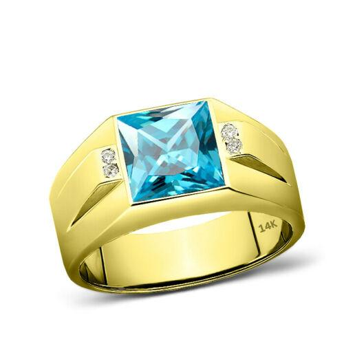 14K Solid Yellow Gold Blue Topaz 4 Diamond Accents Mens Ring