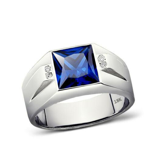 18K Stamped Solid White Gold Ring for Men 4 Natural Diamonds and Blue Sapphire