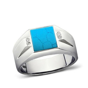 925 Solid Sterling Silver Natural Blue Turquoise Mens Ring with Real 4 Diamonds