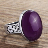 10k White Gold Ring For MEN with Natural AMETHYST Gemstone