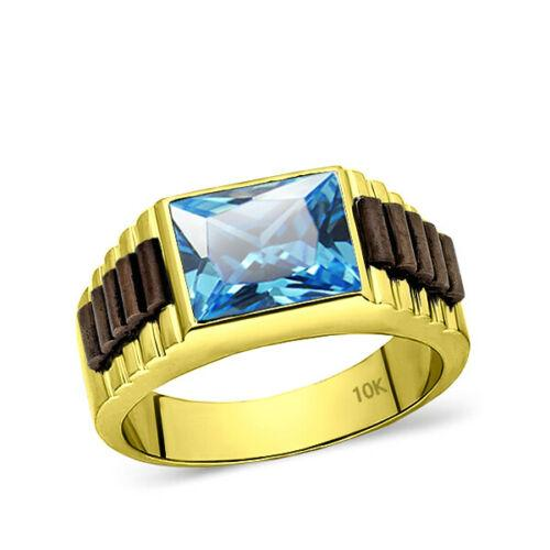 Solid 10k Yellow Gold Mens Ring Rectangle Topaz Stone Band Ring for Men