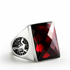 Men's Ring in Solid 925 STERLING SILVER with Large Red Garnet Gemstone