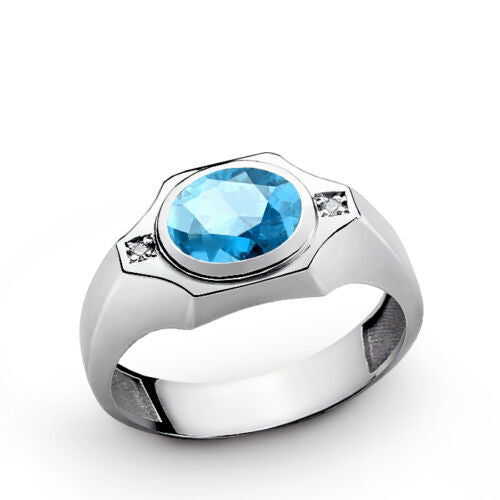 925 Sterling Silver Men Ring with Round Blue Topaz Gemstone and 2 Real Diamonds