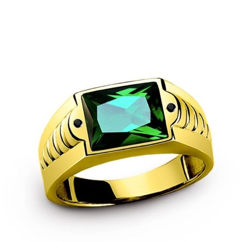 Men's Ring in Solid 10K Yellow Fine GOLD with EMERALD  Gemstone