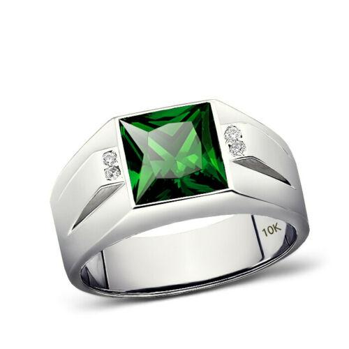 Men's Emerald Gemstone Ring With Diamond Accents in 10K Solid White Gold Ring
