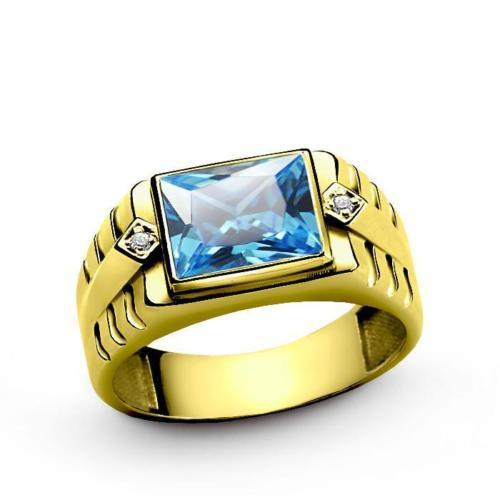 18K Solid Yellow Fine Gold Mens Ring with Blue Topaz and DIAMOND Accents
