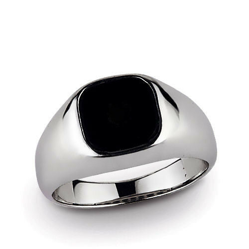 10k Solid White Gold With Natural Flat Black Onyx Gemstone