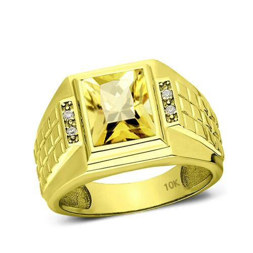 Men's Band Ring Comfort Fit Yellow Citrine and 4 Diamonds 10K Solid Gold