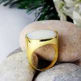 Men's Artdeco Ring REAL10K SOLID GOLD with Large NATURAL White Mother of Pearl