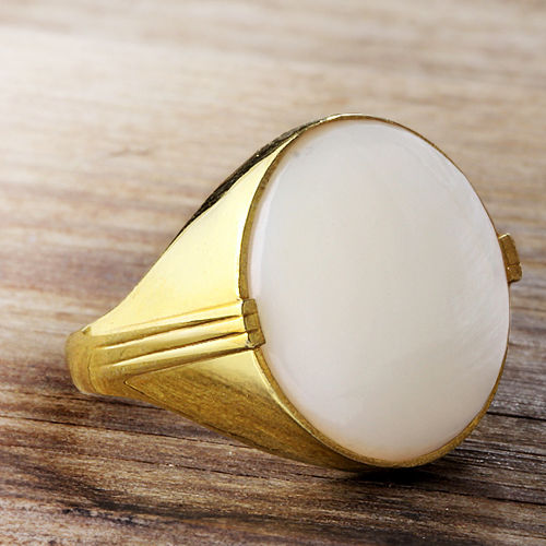 Mens 14K SOLID GOLD Ring Large NATURAL White Mother of Pearl Gemstone Gents Ring