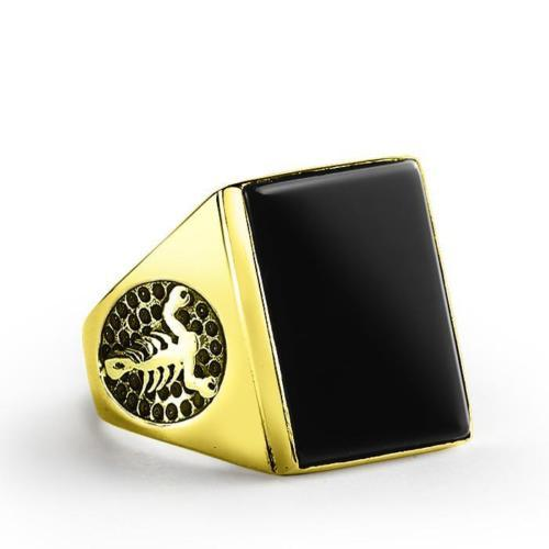 Scorpion Biker Mens Ring in 14K Solid Fine GOLD with Natural Black Onyx Gemstone