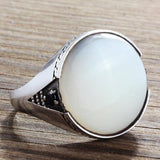 Natural White Mother of Pearl Men's Ring Gemtone Solid 925 Sterling Silver