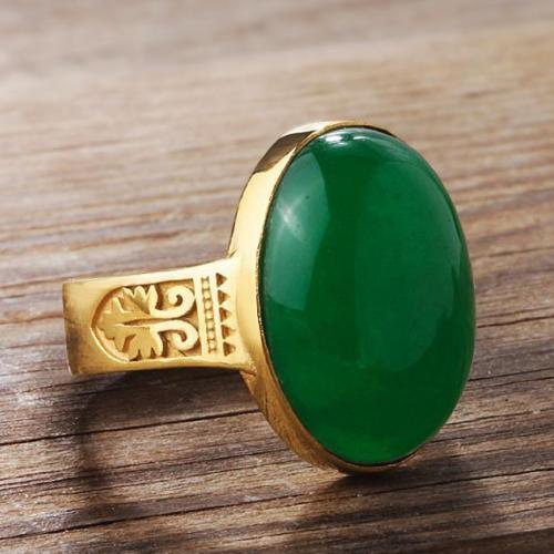 Men's 10K Fine Yellow GOLD NATURAL JADE Vintage Gemstone Ring for Men