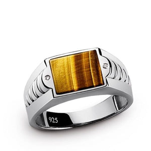 TIGERS EYE and GENUINE DIAMOND Mens FINE Solid Silver Natural Gemstone Ring