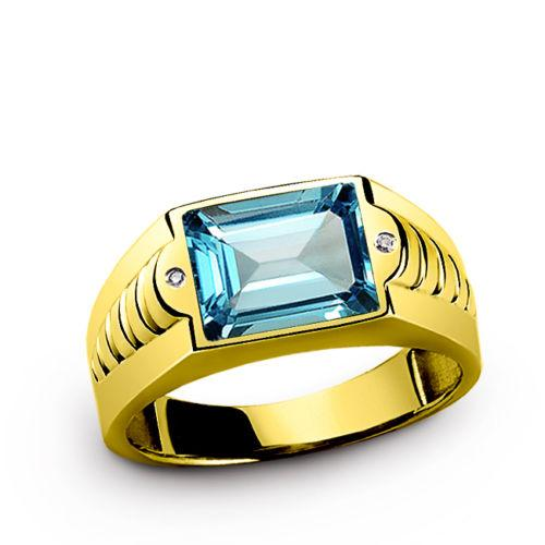 Men's Ring in 14K SOLID Yellow Gold with Blue Topaz and DIAMOND Accents