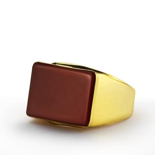 Heavy Men's Ring 10K Real Solid Yellow GOLD Red Rectangle Cabochon Agate Stone