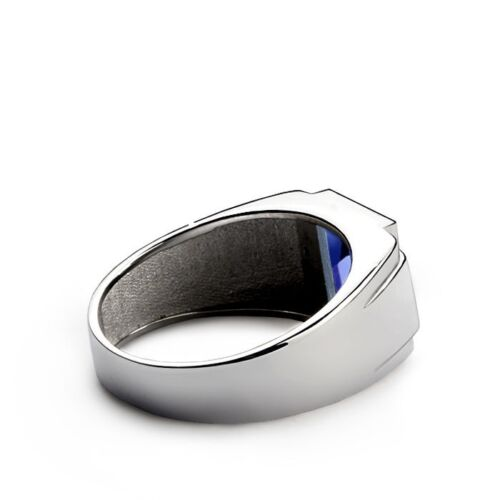 Men's Gemstone Ring With Diamond Accents In 10K Solid White Gold Ring