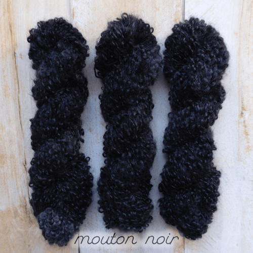 MOUTON NOIR by Louise Robert Design | BOUCLE MOHAIR hand-dyed semi-solid yarn