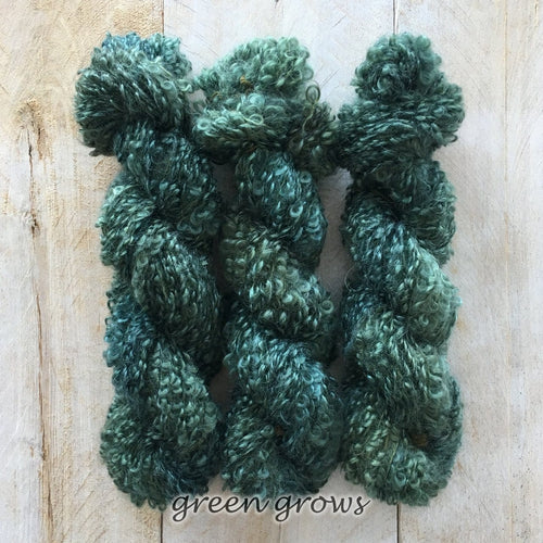 GREEN GROWS by Louise Robert Design | BOUCLE MOHAIR hand-dyed Variegated yarn