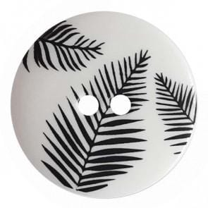 Round polyamide button | Fern Leaves | white 341316