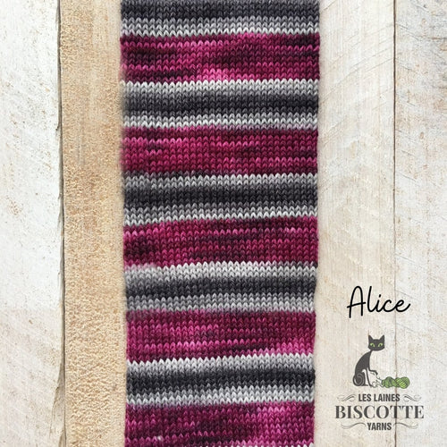 Bis-sock yarn ALICE self-striping hand-dyed yarn