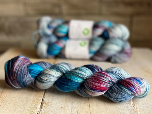 Bis-Sock yarn AQUARIUM speckled hand-dyed yarn | 100g(2x50g) or 50g mini skein size