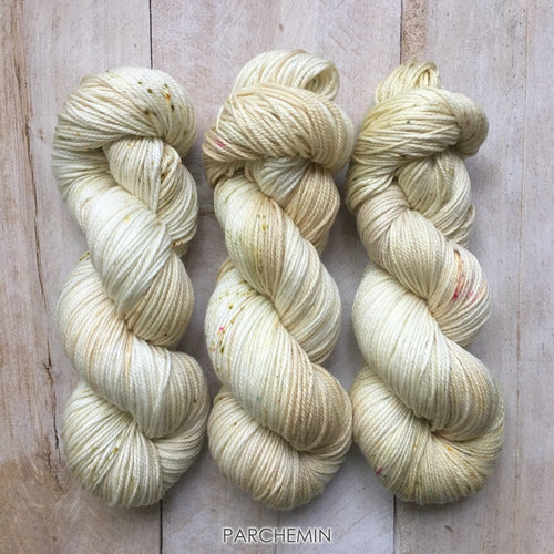 PARCHEMIN by Louise Robert Design | DK PURE hand-dyed Variegated + Speckled yarn