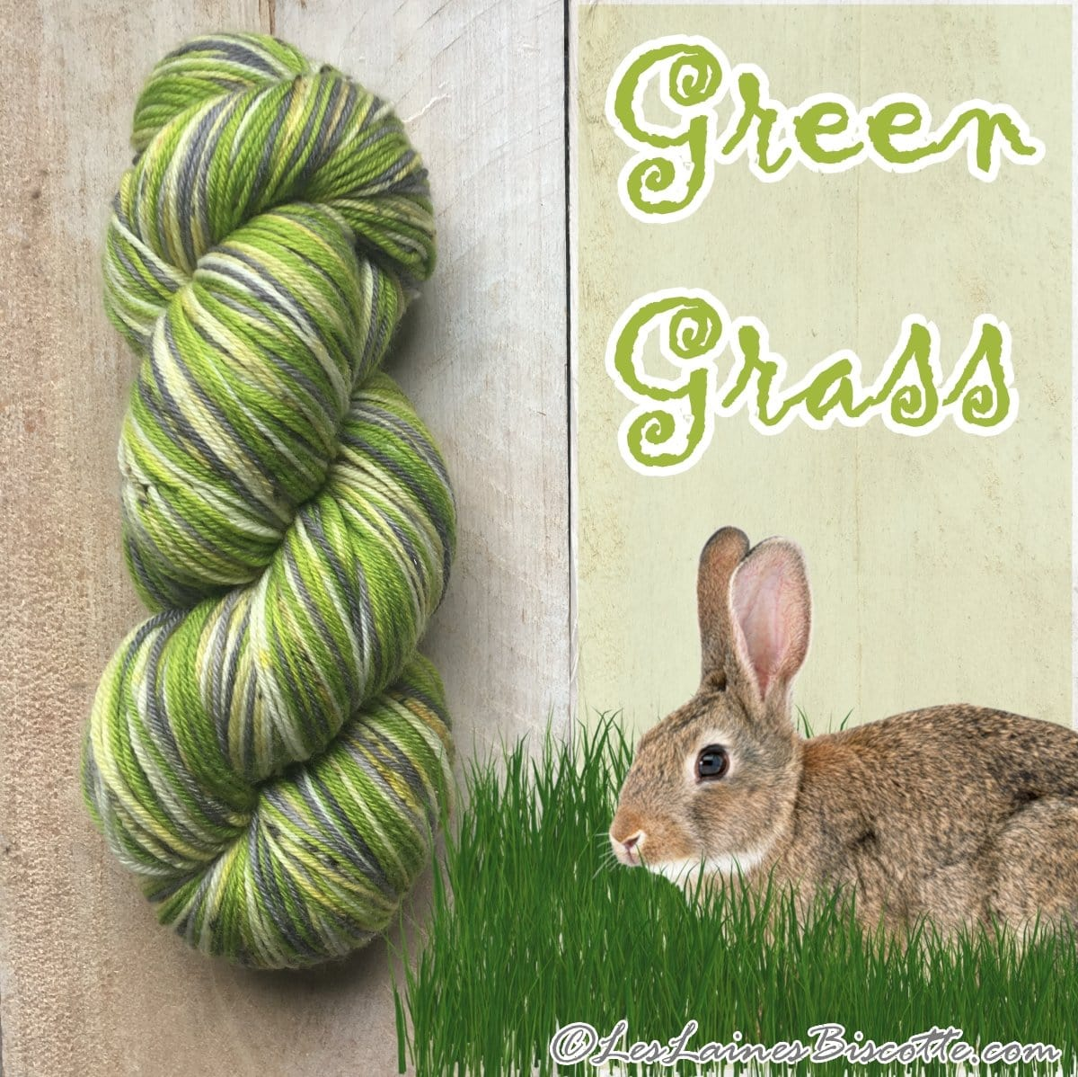 Bis-sock yarn '' Green Grass '' self-striping hand-dyed yarn