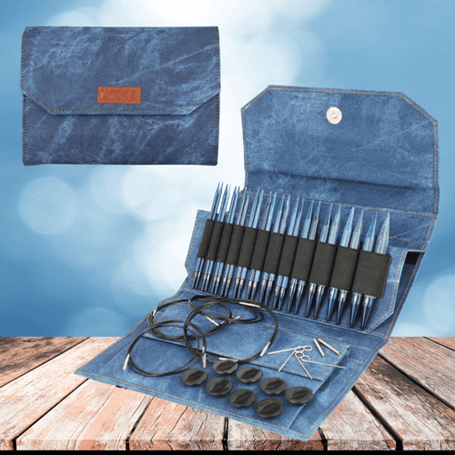 "Interchangeable needles LYKKE - 5"" Indigo - Blue Denim"