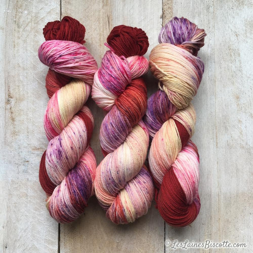 Bis-Sock yarn Cherry Pop speckled hand-dyed yarn | 100g or 50g mini skein size