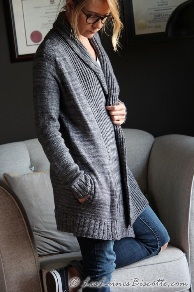 Pure Comfort Cardigan Free Pattern Les Laines Biscotte Yarns