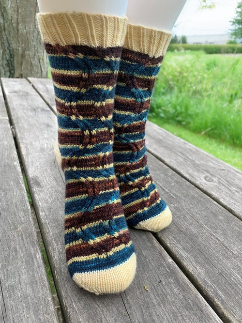 In the Grass Zig-Zag Socks | Patron de Bas au Tricot Gratuit