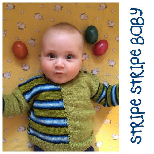 Knitting Pattern Baby Sweater - Stripe Stripe Baby!