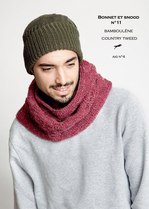 Patron Cheval Blanc Catalogue 29-11 - Bonnet snood pour homme