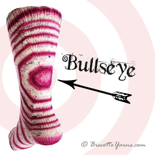 Bis-sock yarn Bullseye self-striping hand-dyed yarn