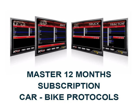 12 Months Subscription. Car - Bike Protocols. KessV2 Master.