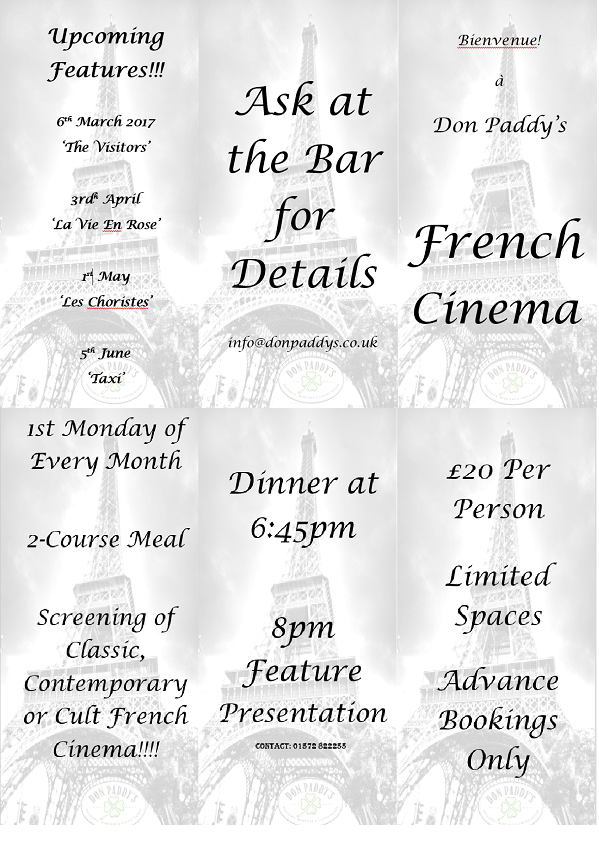 Coming up at Don Paddy's Cinema Evening...