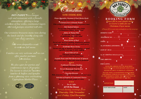 Christmas Fayre Menu, 30th November to 22nd December