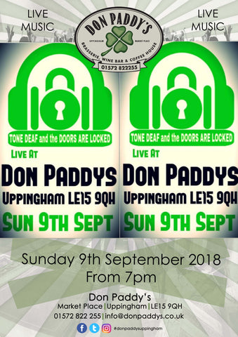 Live Music - Tone Deaf and The Doors are Locked, 9th September 2018