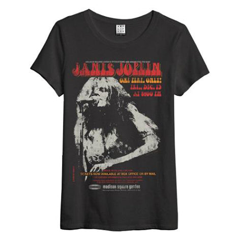 Janis Joplin Amplified Charcoal Ladies T-shirt