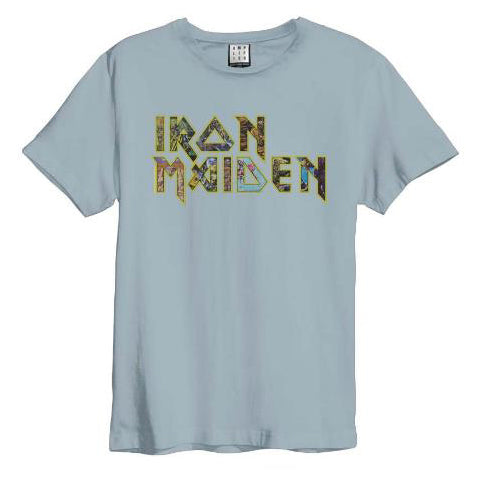 Iron Maiden Eddies Logo Amplified Blue Men's T-shirt