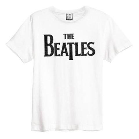Beatles Logo Amplified Men's White T-shirt