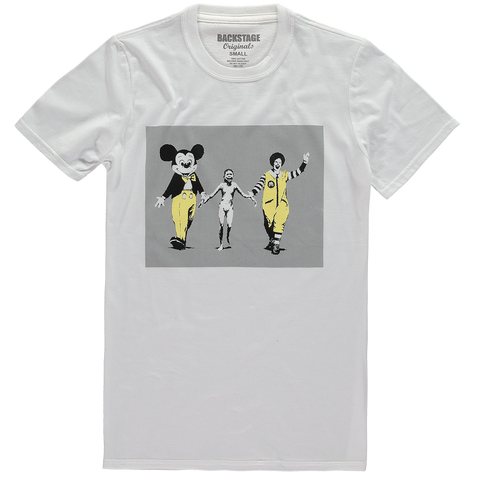 Banksy Mickey and Ronald White Men's T-shirt