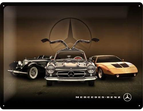 Mercedes-Benz 3 Cars Vintage Metal Sign By Nostalgic Art