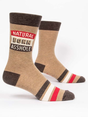 Natural Born Asshole Men's-Crew Socks